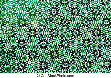Typical colorful Moroccan ornamental wall background - Lisbon, Portugal December 26, 2016