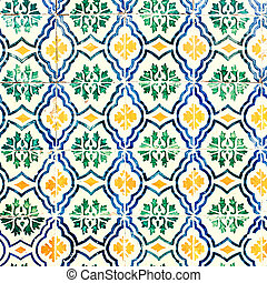 Typical colorful Moroccan ornamental wall background