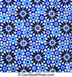 Typical colorful Moroccan, Portuguese tiles, Azulejo, ornaments - arabic wall design - Lisbon, Portugal December 26, 2016