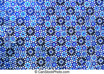 Typical colorful Moroccan, Portuguese tiles, Azulejo, ornaments