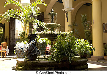 Typical courtyard. Spanish colonial architecture. Havana, Cuba