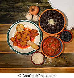 Typical cuban dishes - Assorted typical cuban dishes over ...
