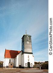 Typical Dutch church in coast village Callantsoog