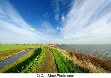Typical Dutch country landscape in Marken - Typical country...