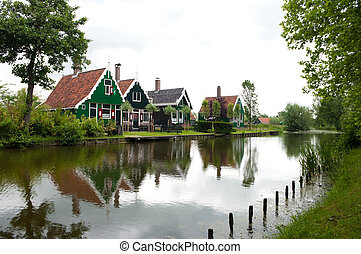 typical dutch houses in the Zaanse Schans north to Amsterdam
