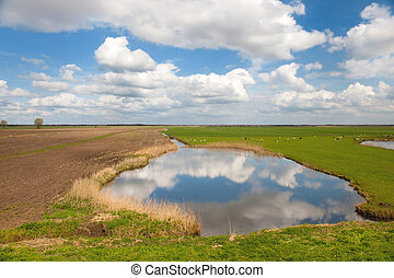Typical Dutch landscape with lake and clouds in the polder