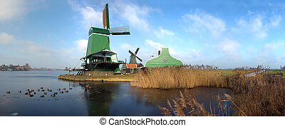 Typical Dutch Saw Mill - Panoramic image of an old,...