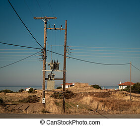 Typical electric pole in Peloponnese, Greece.