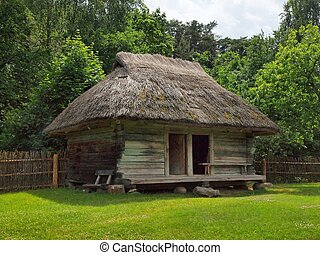 Typical, antic, ethnographic wooden house in Rumsiskes, Kaunas district in Lithuania
