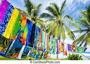 typical fabrics, Bathsheba, East coast of Barbados,...