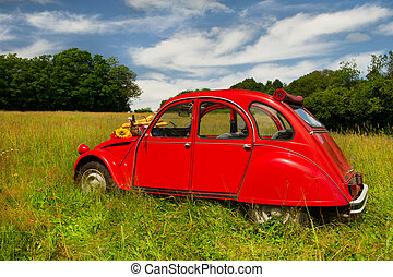 Typical French red car in landscape