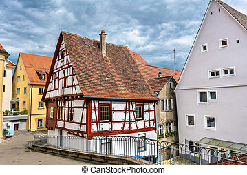 Typical half-timbered houses in Sigmaringen - Baden...