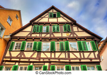 Typical half-timbered houses in Tubingen - Baden...