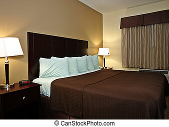 Typical hotel room with queen size bad