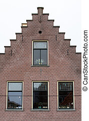 Typical house gable in Alkmaar, North Holland, Netherlands,