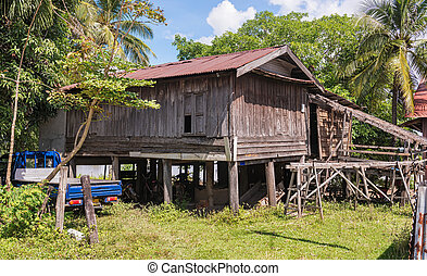 Typical house in the rural Laos at the bank of Mekong riiver.