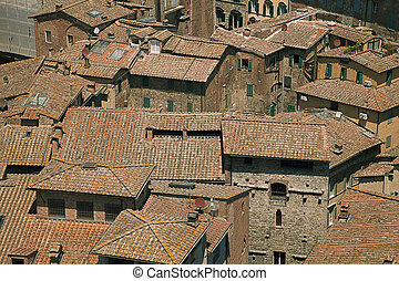 Typical house roofs in Siena, Italy