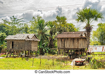 Typical houses in countryside in Cambodia.