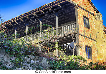 Typical houses in the World Heritage town of Santillana del Mar, Spain