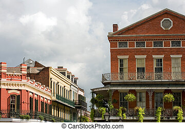 French Quarter - Typical houses with exquisite ironwork in...