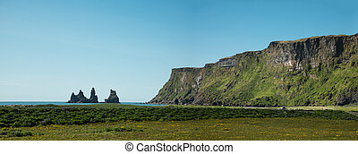 Typical icelandic landscape with black stones mountains, Iceland