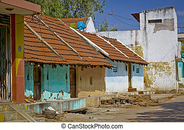 Typical indian clay buildings in village near Tiruvanamalai...