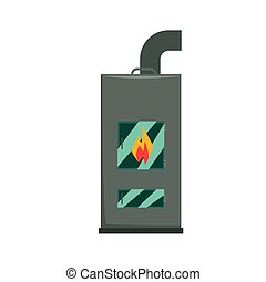 Typical interior iron wood burning stove vector Illustration