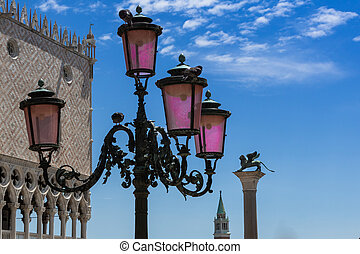Typical lamp, Doge's Palace, San Giorgio Maggiore Bell Tower and Winged Lion Column in Venice - Italy