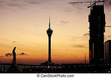 Typical landmark and constructing casino, Macau - The sunset...