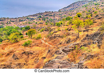 Typical landscape at Ellora Caves in the dry season. India