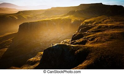 Typical landscape of the Iceland green hills