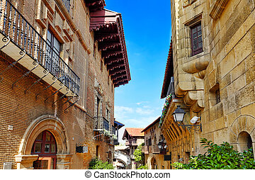 Typical landscapes and authentic Catalan cozy streets in cities of  Spain.