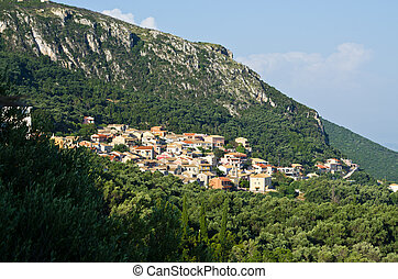 Typical little village in the mountains - Corfu, Greece
