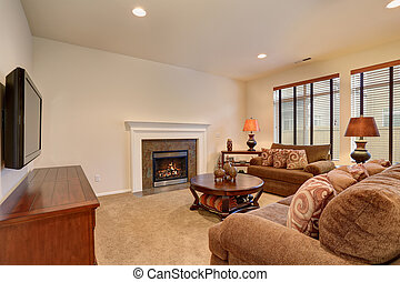 Typical living room in american home with carpet, and velvet sofas.