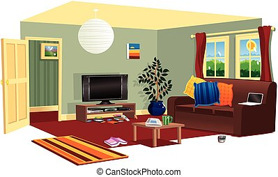 A cutaway illustration of a typical living room in a house.