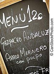 Typical menu - closeup of a typical spanish menu in Cuenca,...