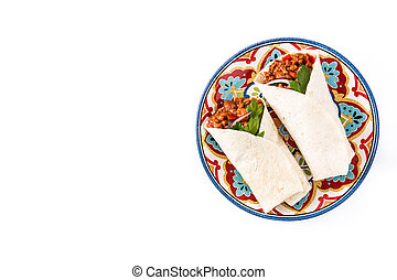 Typical Mexican burritos wraps with beef, frijoles and vegetables isolated on white background. Top view. Copyspace