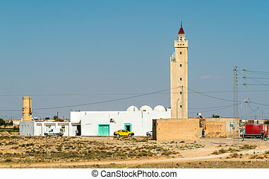Typical mosque in the Tunisian countryside at Skhira