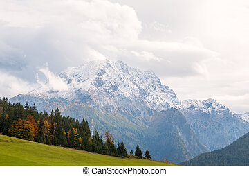 Typical mountains with autumn colors in the Bavaria Alps, Berchtesgaden National Park