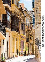typical narrow street in Valletta