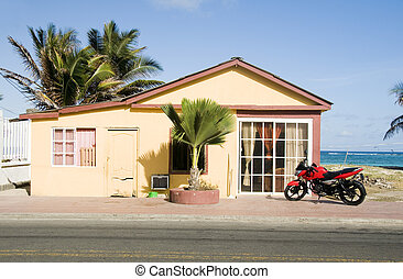typical native house architecture view Caribbean sea beach...