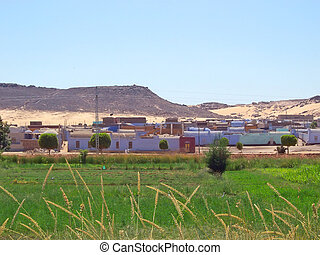 Typical nubian village found along the nil, Louxor, Egypt - ...