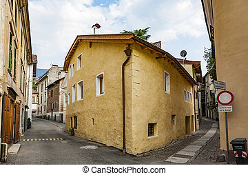 typical old houses in famous village of Meran, Italy