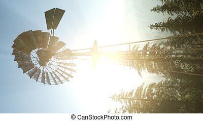 Typical Old Windmill turbine in forest. vertical format