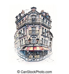 Typical Parisian house, France