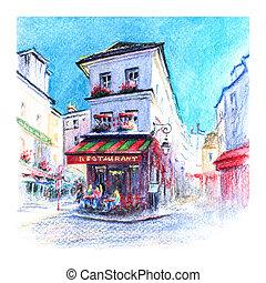 Typical Parisian restaurant, France