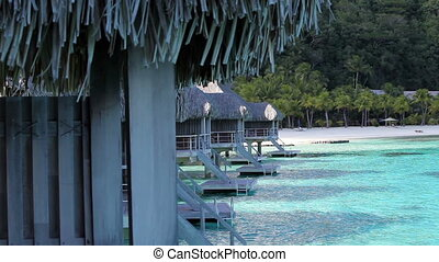 Typical Polynesian landscape - seacoast with palm trees and small houses on water.