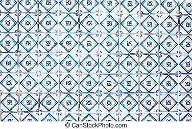 Typical portuguese tiles Abstract colorful wall background - Lisbon, Portugal December 26, 2016