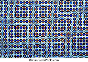 Typical Portuguese tiles, Blue Azulejo, spanish, italian and moroccan ornaments - Lisbon, Portugal December 26, 2016