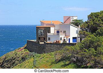 Typical real estate of mediterranean seashore, Cerbera village, also known as Cervera de la Marenda.
